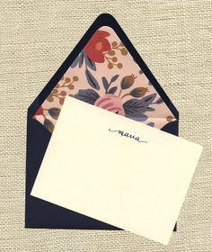 Maria Personalized Notecards  Navy envelopes by HillHouseStudio