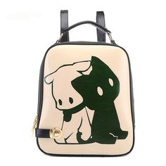 dog rabbit print backpack travel school shoulder bag