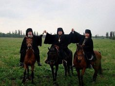 Monks on horses. Yes.