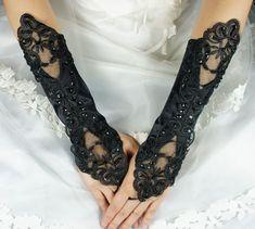 Bridal Gloves, Black Long Fingerless Lace Beaded Gloves, Bridal Glove, Wedding Gloves, Wedding Accessory BG0026BLK