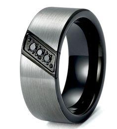 Mens Tungsten Band, Black Tungsten Ring, Wedding Bands, Tungsten Wedding Rings
