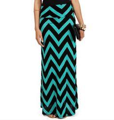 Chevron black and green maxi skirt