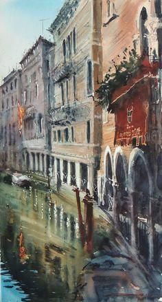 Sergiy Lysyy Венеция Watercolor Landscape, Watercolor And Ink, Landscape Paintings, Oil Paintings, Architecture Sketchbook, City Art, Art Oil, Lovers Art, Art Images
