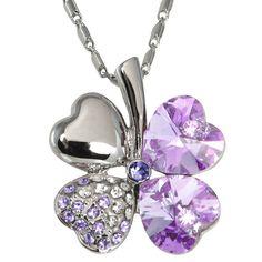 Swarovski Crystal Heart Shaped 4 Leaf Clover Pendant Necklace ~ $19.99