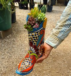 Beautiful talavera succulent boot arrangement I made for a customer at Green Things in Tucson, Az
