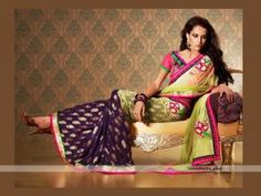 This green and purple designer half-n-half saree will definitely give you glamorous look. Beautiful floral embroidery is looking pretty on green shade. Perfect selection or kitty or small parties. http://goodbells.com/saree/designer-shaded-green-and-purple-saree.html