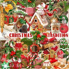 A Christmas themed set of embellishments designed to coordinate with the Christmas Tradition scrapbook collection from Raspberry Road.