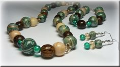 Necklace set with wooden and polymer beads