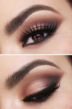 Pics and video tutorial for a brown smokey eye day-to-night look.