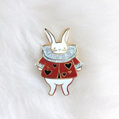 White Rabbit Hard Enamel Pin Gold Finish Original Alice in