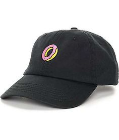 Keep your dad hat fashion in the green with this Embroidered Donut black  polo strapback hat from Odd Future. A simple pink and yellow donut adorns  this ... 51fcc09e3bd3