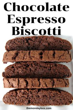 Chocolate Espresso Biscotti - The Monday Box Italian Cookies, Italian Desserts, Italian Recipes, Heart Healthy Desserts, Just Desserts, Health Desserts, Apple Recipes, Cookie Recipes, Dessert Recipes