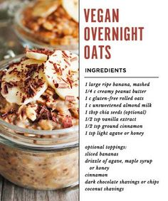 Healthy Vegan Recipes/Vegan Breakfasts/Looking for a healthy breakfast idea? Overnight oats in a jar are nutritious, easy, and quick to make Breakfast And Brunch, Health Breakfast, Breakfast Recipes, Nutritious Breakfast, Vegan Breakfast, Oats Recipes, Whole Food Recipes, Vegan Recipes, Curry 3