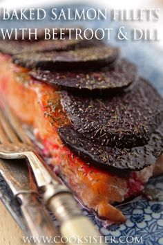Baked salmon fillets with beetroot and dill - make it Scandinavian style tonight!     cooksister.com