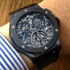 "Watch  & ✒️ (F.X.Overstake) (@equationdutemps) on Instagram: ""Enjoying the @hublot Classic Fusion Tourbillon Chronograph Skeleton! One of my fav #hublot pieces!…"""
