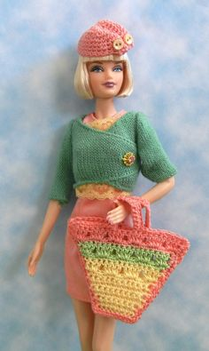 crochet pattern for 6 springtime accessories for Barbie, including hats and bags, on Etsy