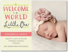 Girl Photo Birth Announcements Charming Welcome - Front : Wild Strawberry