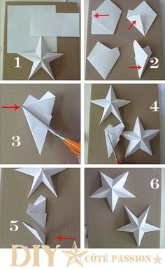 Côté Passion Star with a Square: DIY paper star, origami Diy Christmas Star, Christmas Ornaments, Origami Christmas Star, Grinch Christmas, Paper Ornaments, Papier Diy, Star Diy, 3d Star, Diy Origami