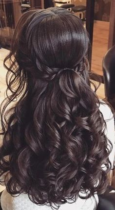 Brunette Balayage for Thick Hair - 50 Cute Long Layered Haircuts with Bangs 2019 - The Trending Hairstyle Quince Hairstyles, Indian Wedding Hairstyles, Bride Hairstyles, Down Hairstyles, Formal Hairstyles, Ponytail Hairstyles, Cute Hairstyles, Updo, Long Hair Wedding Styles