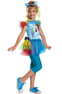 Rainbow Dash has never been more hip. This brand new Classic Rainbow Dash Costume for kids has been updated with a style that's hip and happening and perfect for your trendy little girl!<br><br>Costume features:<ul><li>Tunic</li><li>Detachable tail a