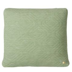 Ferm Living's Quilt cushion in soft light green has a geometric effect stitched detailing. This luxurious modern design, with quality detailing in the brass Green Cushions, Green Quilt, Modern Throw Pillows, Soft Furnishings, Modern Design, Quilts, Rum, Furniture, Shop