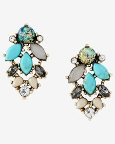 turquoise mixed stone post drop earrings from EXPRESS