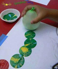Ideas. Art activity, balloon printing caterpillar.