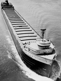 The Edmund Fitzgerald is shown on the Detroit River.  Forty years ago on November 10, 1975. The Edmund Fitzgerald sank during a storm on Lake Superior. All 29 crew were killed. Such legends continue to inspire early in the 21st century.