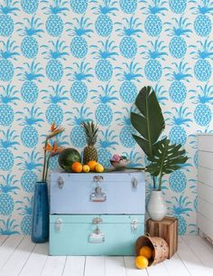 bue pineapple wallpaper papier peint ananas bleu