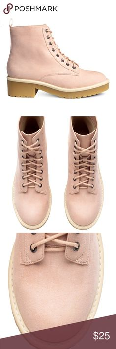 Faux suede nude pink dusty rose combat ankle boots These fabulous boots will give you both comfort and style. Features lace up closure, rubber sole with low 1 inch heel. Feminine light mauve color version of the 90's Jodeci style boots. Brand new with tags in original plastic packaging. Shoes