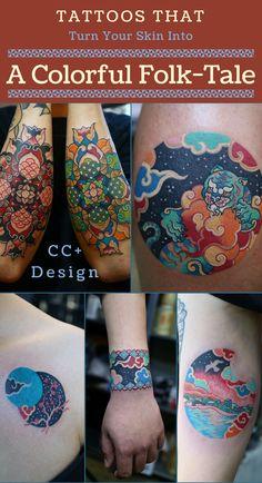 Colorful folktale tattoos