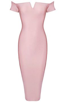 Bardot Notch Front Midi Bandage Dress Pink - Midi Dresses and Celebrity Inspired Fashion