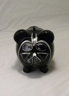 Darth Vader Piggy Bank. Hand painted piggy bank inspired by Star Wars. Personalization done in Star Wars style font. Can be personalized on the