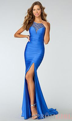 Ruched Sleeveless Floor Length Dress at PromGirl.com