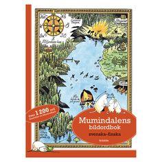 Lär dig finska med Mumin! Du får följa med vad som sker på morgonen, mitt på dagen, eftermiddagen, kvällen och natten. Muminmamman har förlagt sin handväska och alla söker efter den. Vem hittar den? Efter att väskan hittats, finns det orsak att ordna en fest med allt vad det betyder av förberedelser. Efter festen tittar man på stjärnhimlen innan det är läggdags. I Mumindalens bildordbok finns över 1200 ord att lära sig!