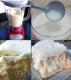 Ingredientes Bolo Gelado de Leite Ninho de Liquidificador 3 ovos 4 colheres (sopa) de margarina 1 xícara de leite em pó 1 e 1/2 xícara de água em temperatura ambiente 2 xícaras de açúcar 1 colher (sopa) de fermento em pó 3 xícaras de farinha... Food Cakes, Sweets Recipes, Cake Recipes, Kitchen Recipes, Cooking Recipes, Delicious Desserts, Yummy Food, Cake Shop, Cupcakes