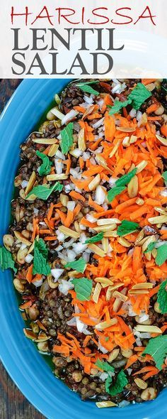 Harissa Lentil Salad Recipe | The Mediterranean Dish. A spicy lentil salad with white beans, tomatoes, Middle Eastern spices and harissa paste. A flavor-packed salad or side dish! Comes together in mins. See this recipe and more on TheMediterraneanD... Mediterranean Dishes, Great Recipes, Recipes Dinner, Side Dish Recipes, Amazing Recipes, Easy Recipes, Vegan Lentil Recipes, Vegetarian Recipes, Healthy Recipes