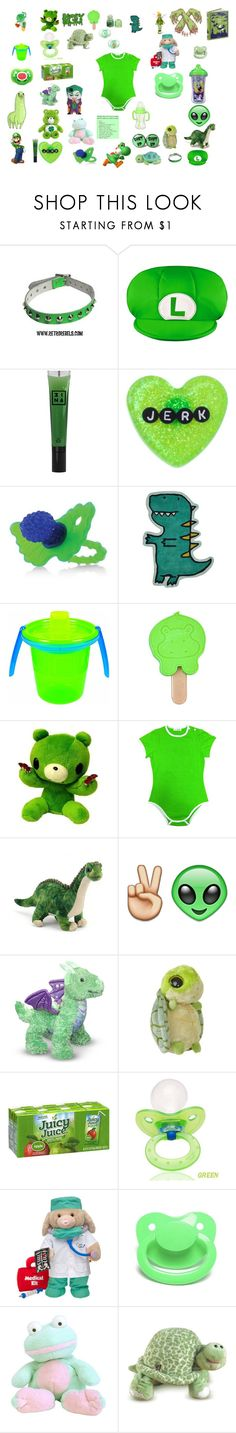 """""""green baby"""" by unicorn-923 ❤ liked on Polyvore featuring Disney, Nintendo, 3ina, Sourpuss, The First Years, ELSE, Playtex and JUST DON"""