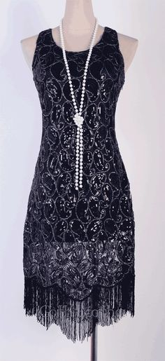 Flapper Party Clubwear Gatsby Abbey Sequin & Tassel Black Dress RR 3239 in Clothing, Shoes & Accessories, Women's Clothing, Dresses 20s Dresses, Vintage Dresses, Casual Dresses, Vintage Outfits, Flapper Dresses, Party Dresses, Wedding Dresses, Gatsby Costume, Gatsby Dress
