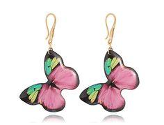 Pink gold earrings Butterfly dangle jewelry by DragonPorter