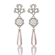 www.ORRO.co.uk - Brigitte Adolph - Silver & Rose Quartz Sleeping Beauty Earrings - ORRO Contemporary Jewellery Glasgow...