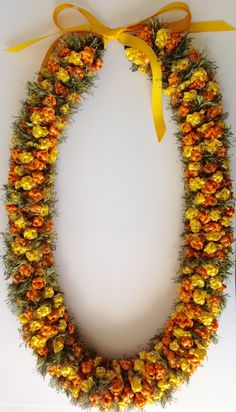 Crocheted Lei with ribbon and eyelash yarn