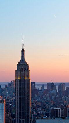 DUSK NEW YORK SKYLINE CITY WALLPAPER HD IPHONE