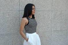Resultado de imagen para vestidos blanco con rayas negras