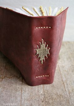 Woven One Leather Journal Weave Textile by odelae on Etsy **Live to find the pattern for this** Leather Books, Leather Notebook, Leather Journal, Handmade Journals, Handmade Books, Book Sculpture, Paper Sculptures, Bookbinding Tutorial, Folded Book Art