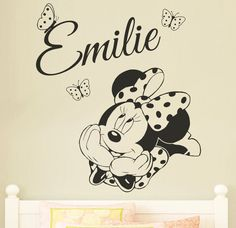 MINNIE MOUSE Personalised Disney Wall Sticker / Decal for Kids/ Childrens Nursery Bedroom Wall Transfer