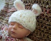 Pastel Green Bunny Baby Hat.