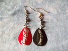 Spinner Jack & Coke Crown Cap Pierced Earrings by MyHillbillyWays on Etsy