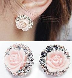 NT0045 Roses circle diamond over Ear clip | Sniydan - Accessories on ArtFire