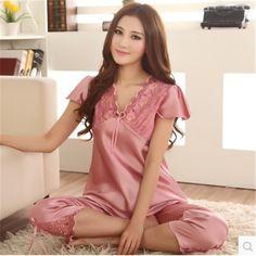 cdf83f9b5408d Pajamas For Women Summer Ladies Silk Pyjamas Pants Stitch Women Lounge  Nightshirt Pajama Sets XXXL Pijama Mujer